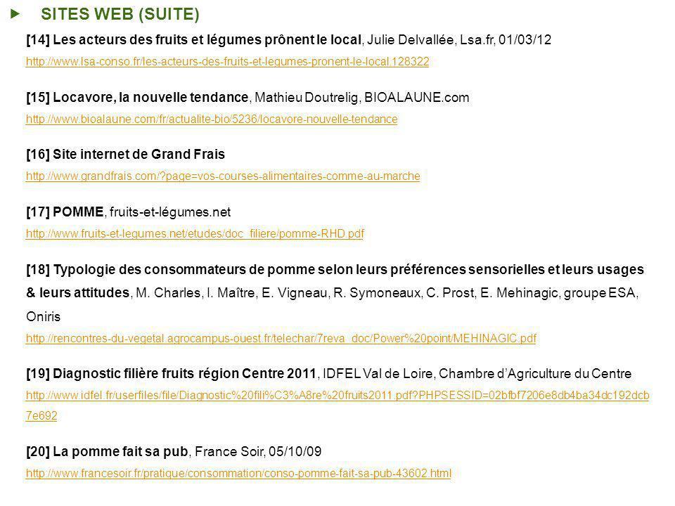 SITES WEB (SUITE) [14] Les acteurs des fruits et légumes prônent le local, Julie Delvallée, Lsa.fr, 01/03/12.